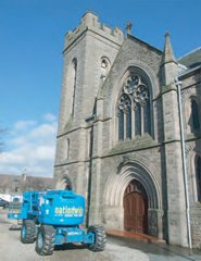 Invergowrie Parish Church and cherrypicker